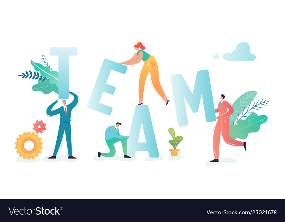 Teamwork concept business people characters team