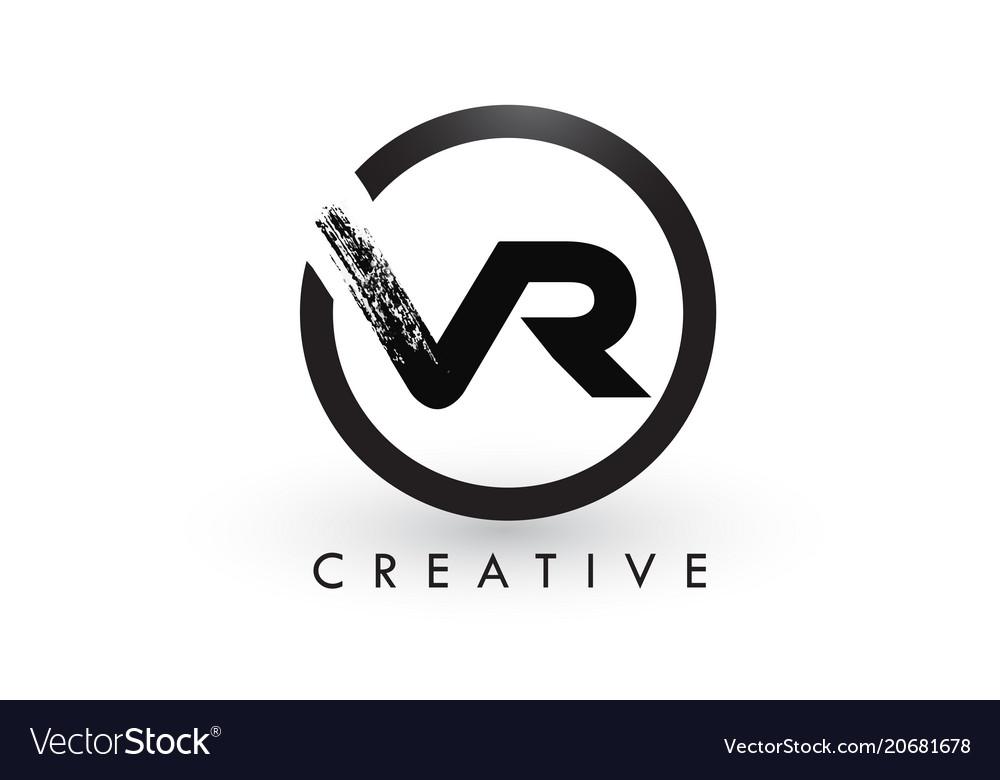 Vr brush letter logo design creative brushed vector image altavistaventures Image collections