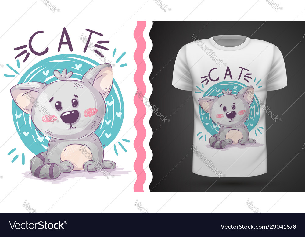 Water Color Cat Idea For Print T Shirt Vector Image