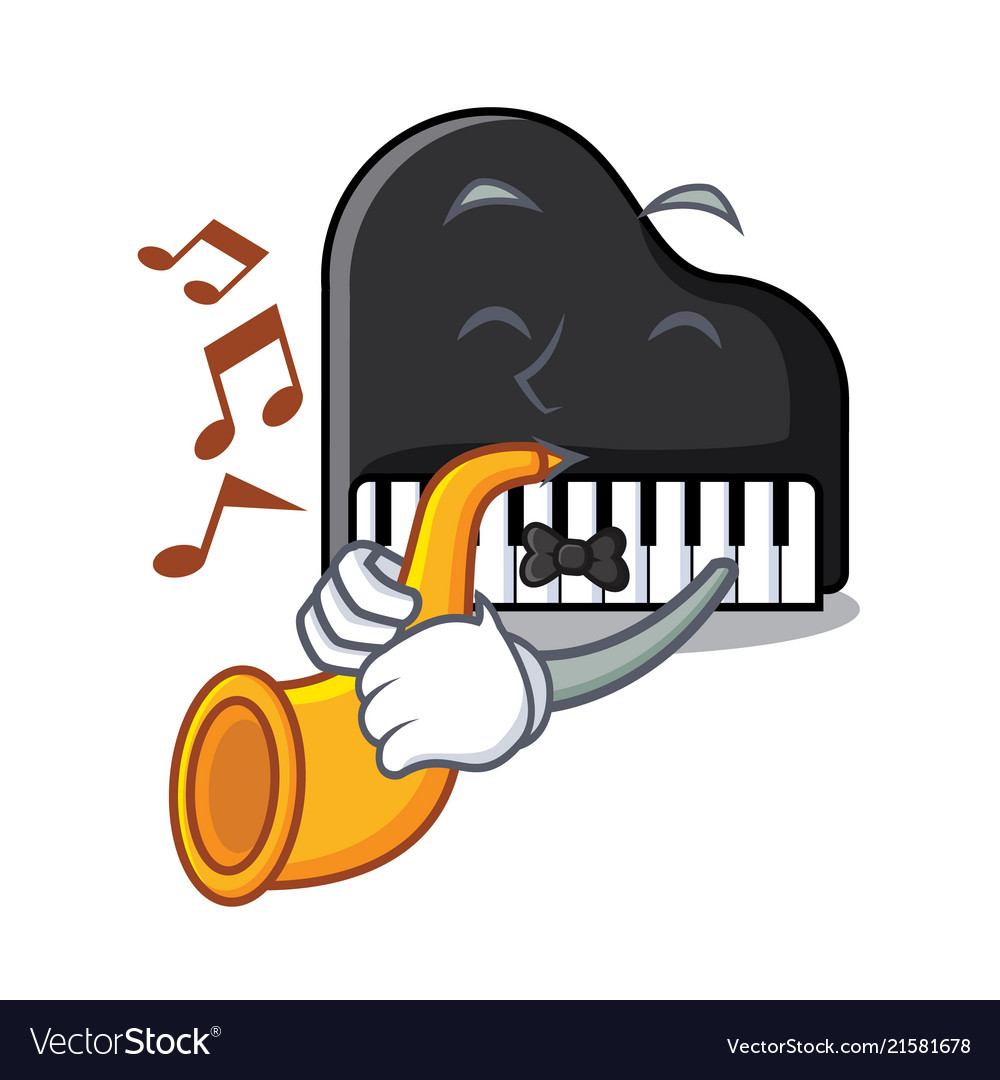 With trumpet piano mascot cartoon style