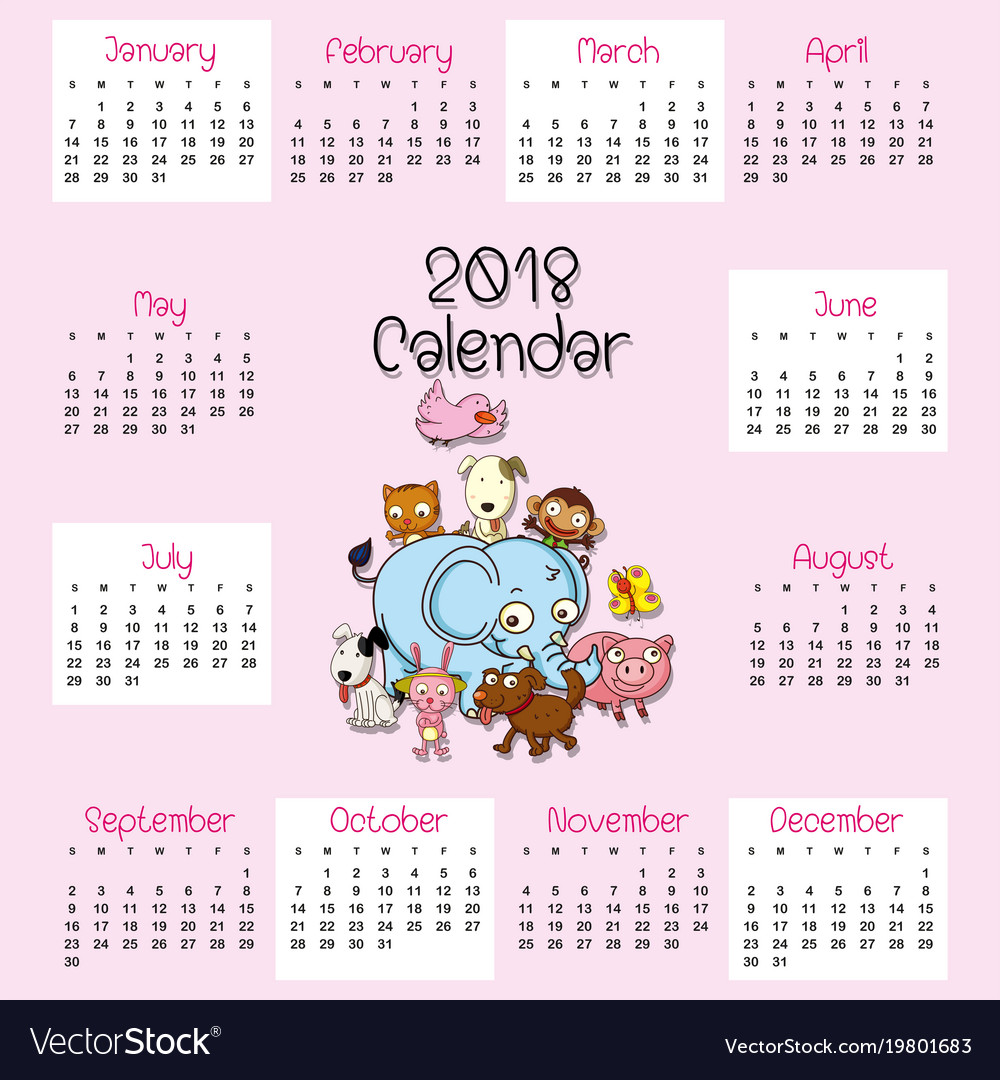 2018 calendar template with cute animals vector image