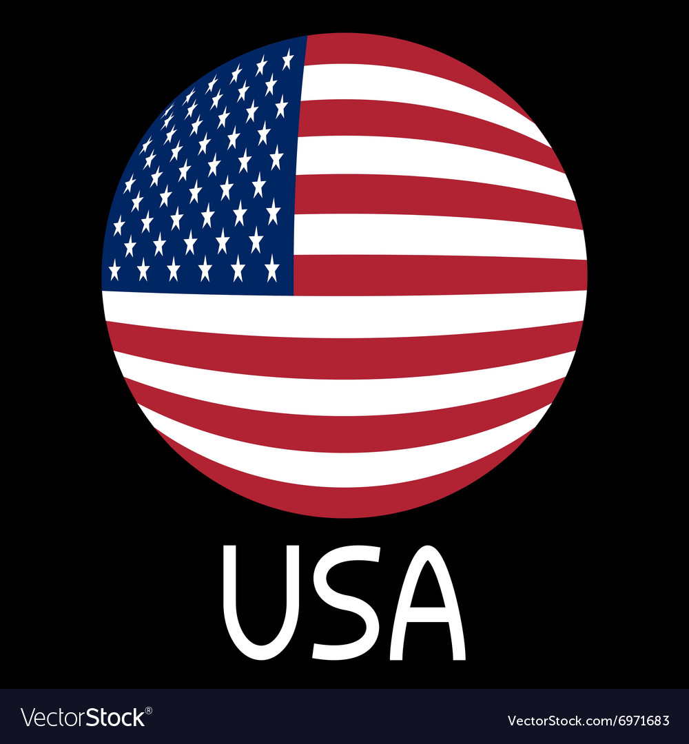 American flag in globe form and word USA