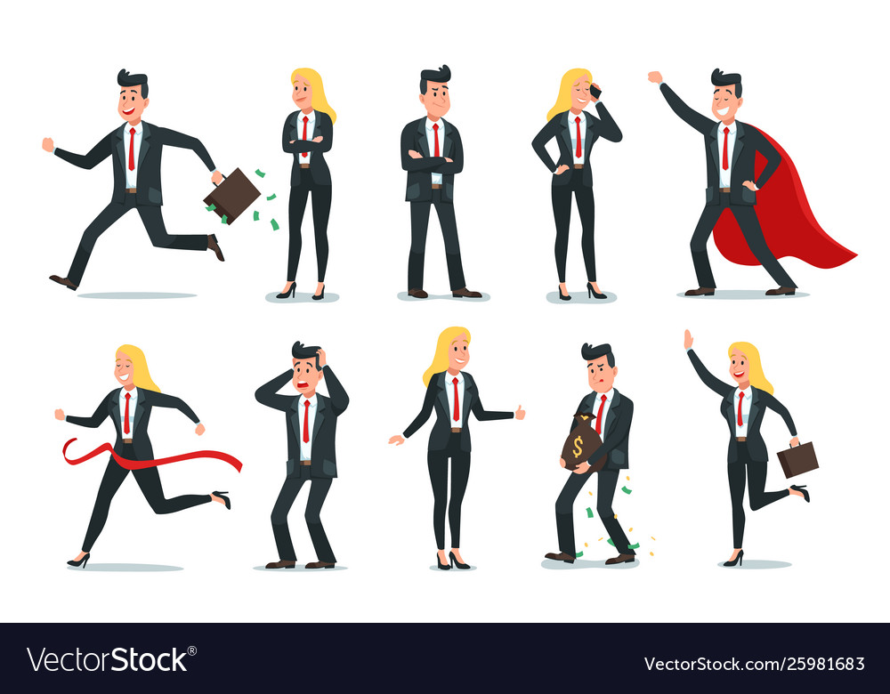 Businessman and businesswoman characters office