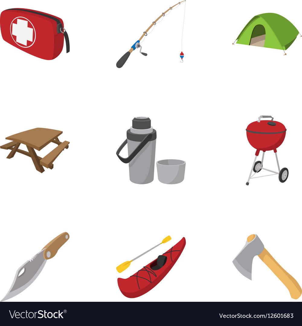 Campground icons set cartoon style