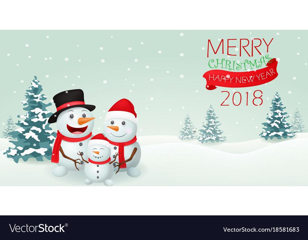 Christmas snowman family banner design vector image