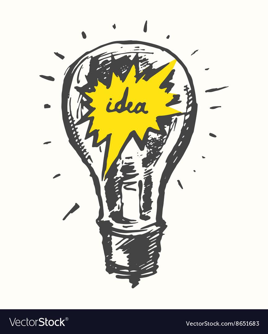 Drawn light bulb idea concept vintage