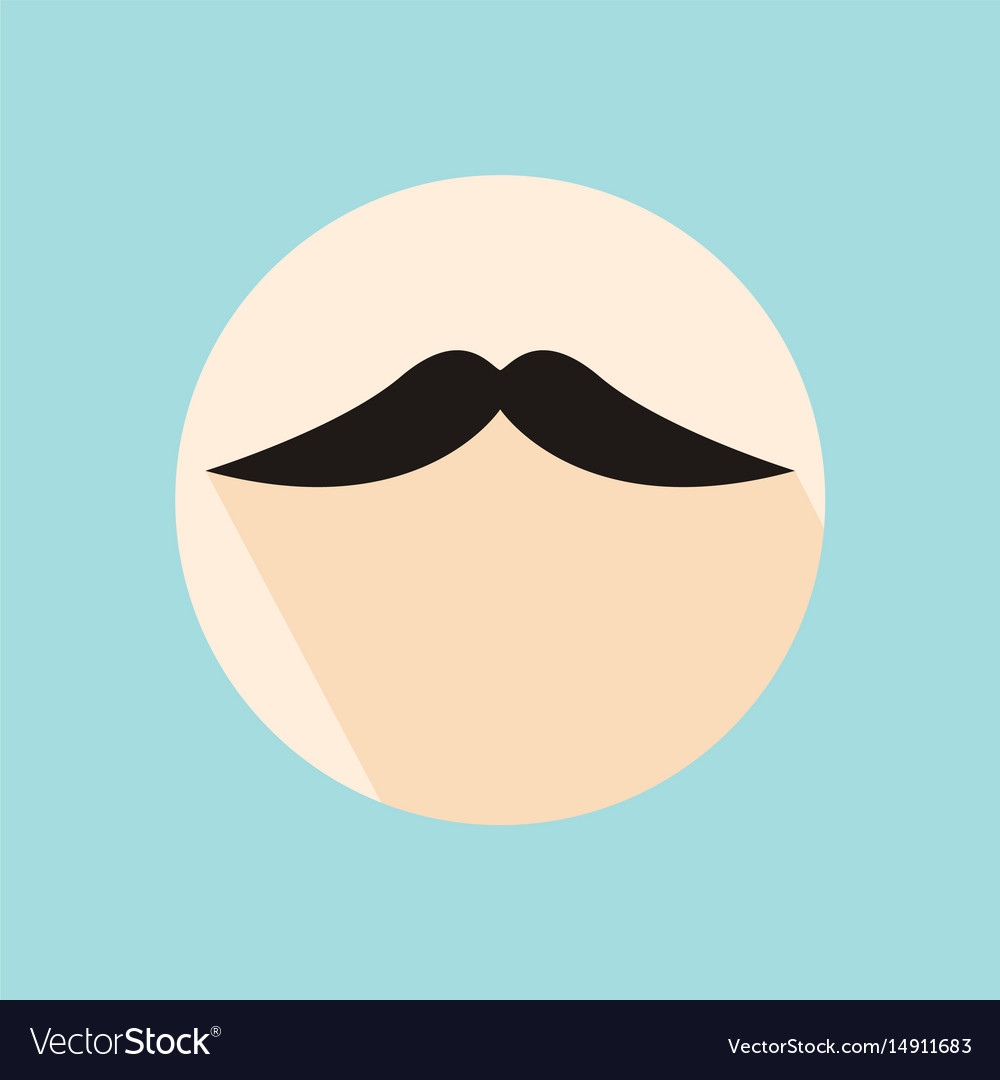 Flat long shadow hipster retro style mustache