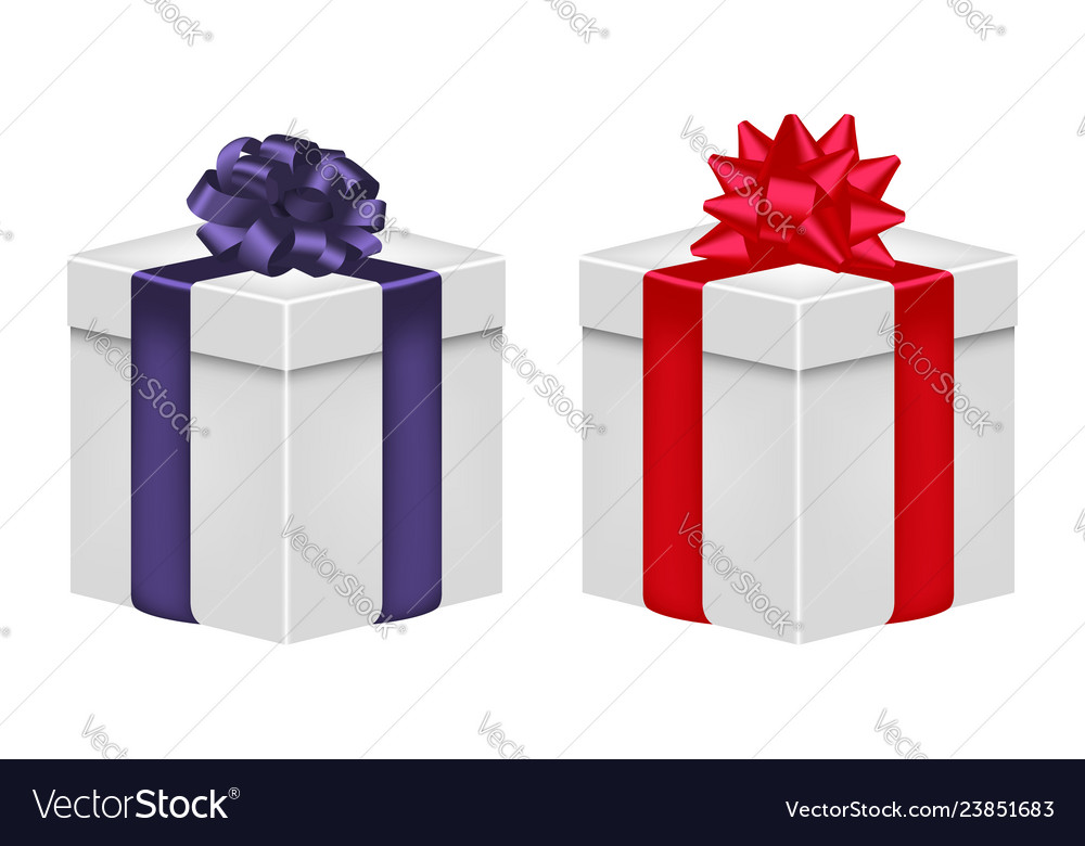 Gift box with ribbon and bow in violet and red