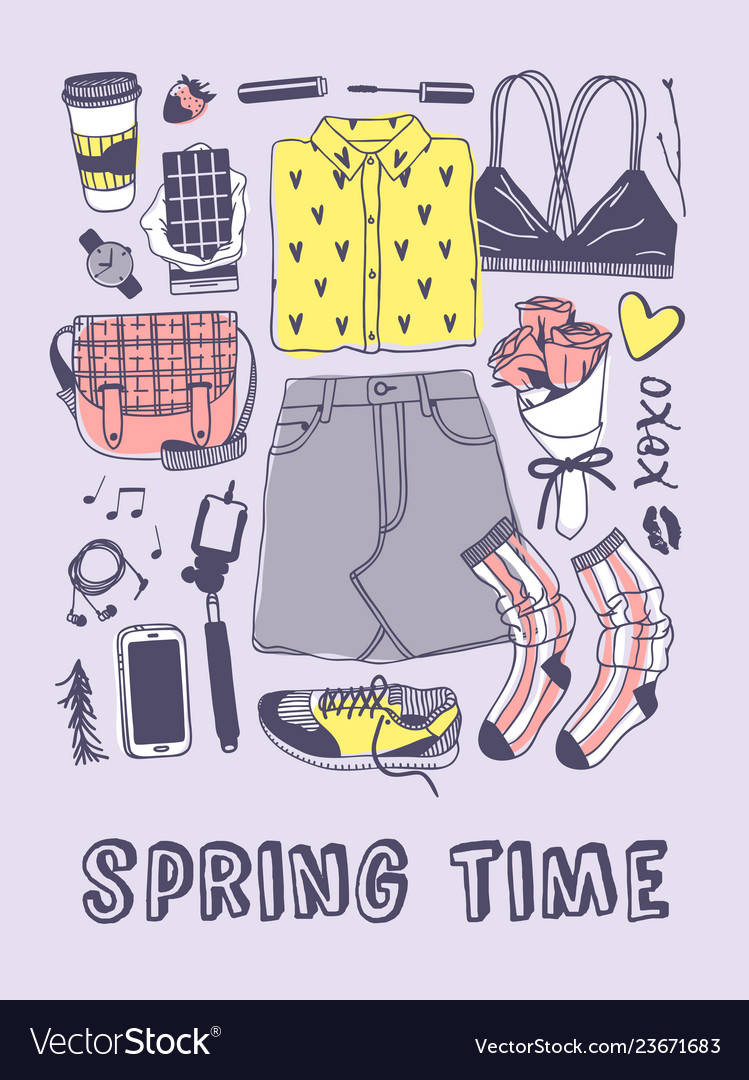 Hand drawn spring fashion wear and text actual Vector Image
