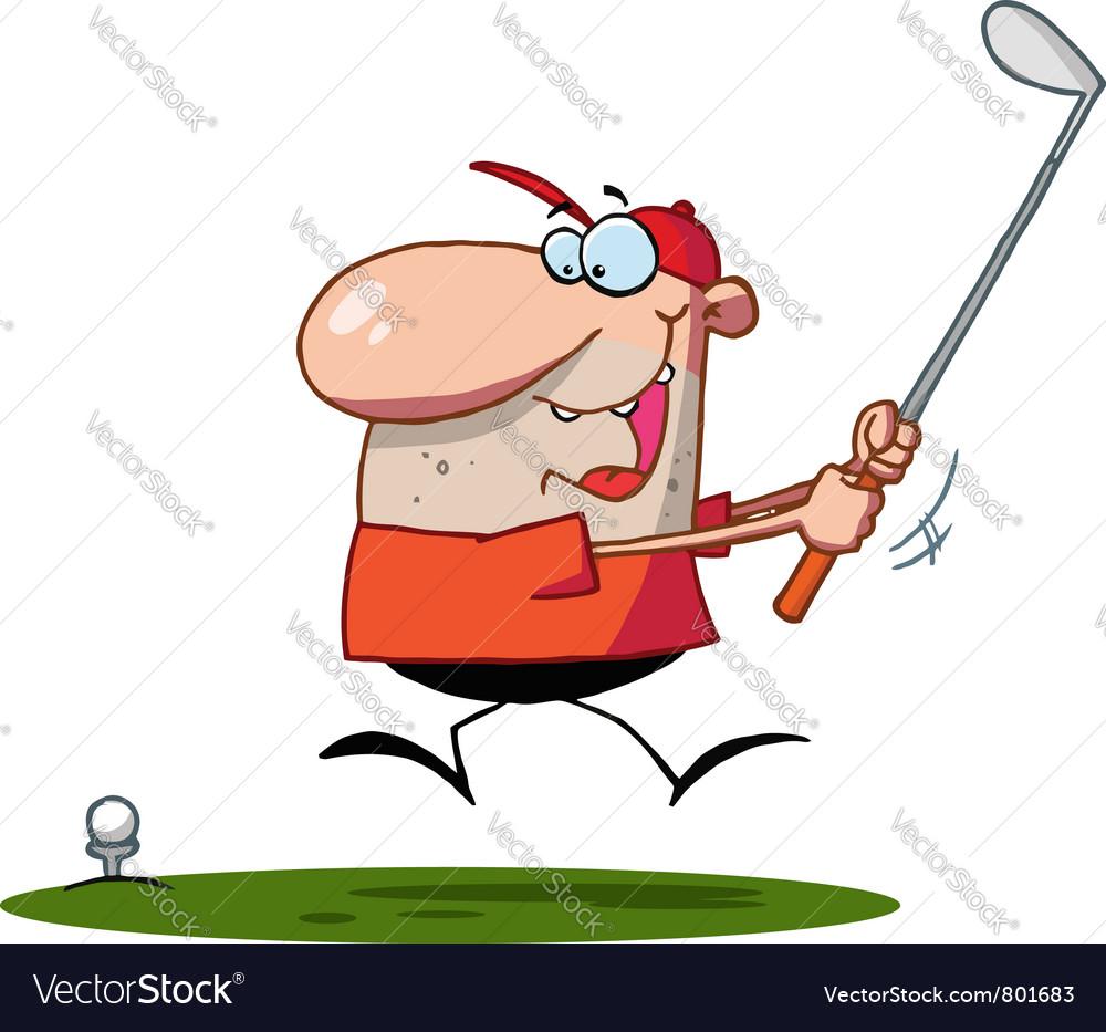Happy man swings golf club vector image on VectorStock on cartoon golf club clip art, cartoon golf club swing, the step to draw a cartoon golf club, cartoon man golf club,