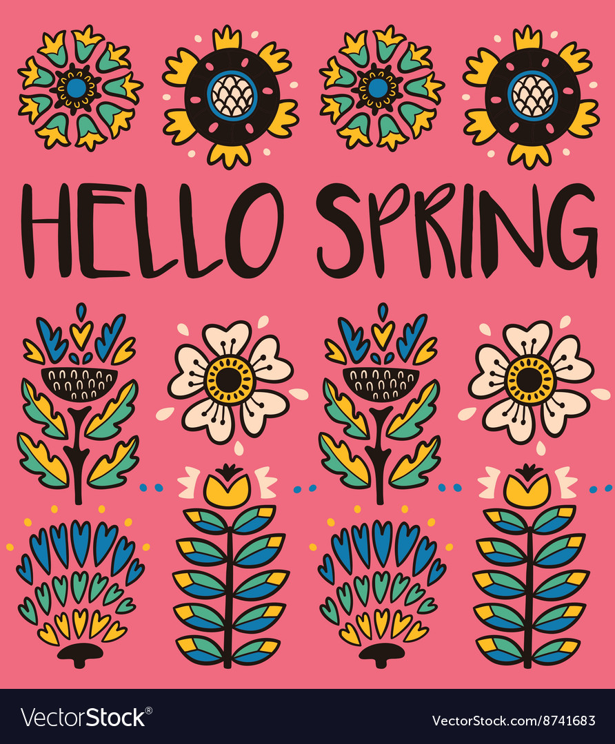 Hello spring greeting card with decorative flowers