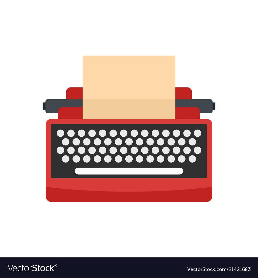 Mid century typewriter icon flat style