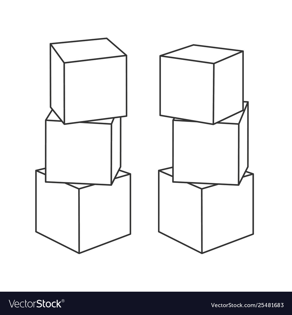 Outline block building towers for coloring book