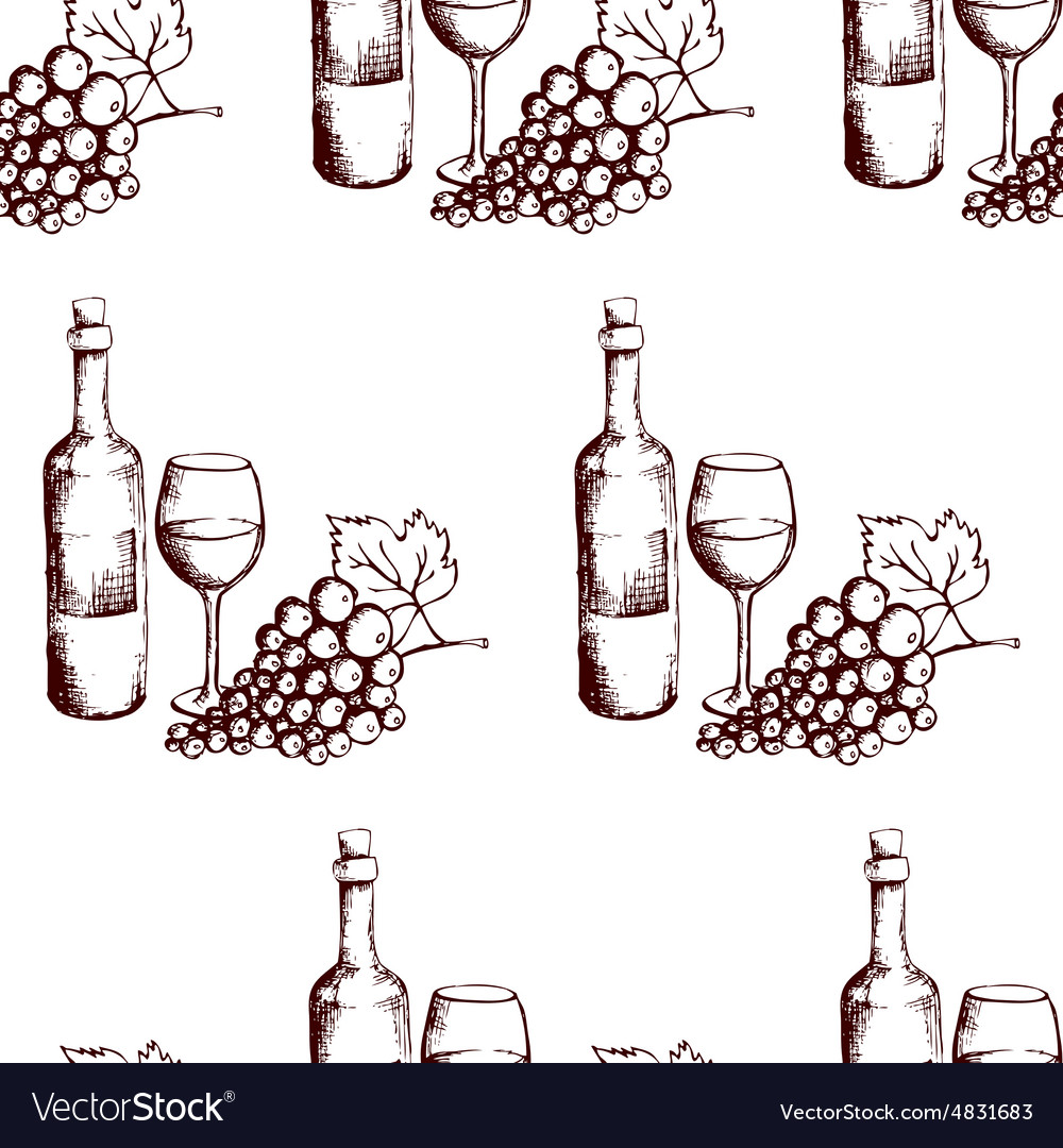 Seamless pattern Wine bottle glass and grapes