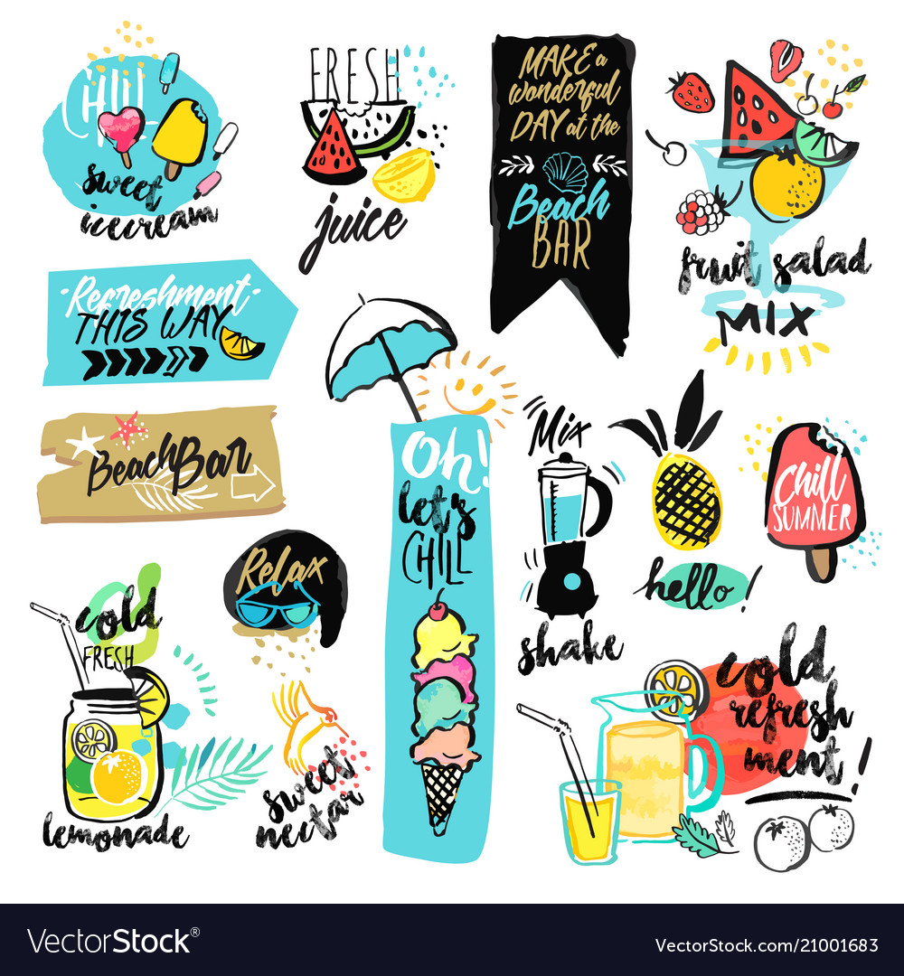 Set of hand drawn watercolor signs of summer