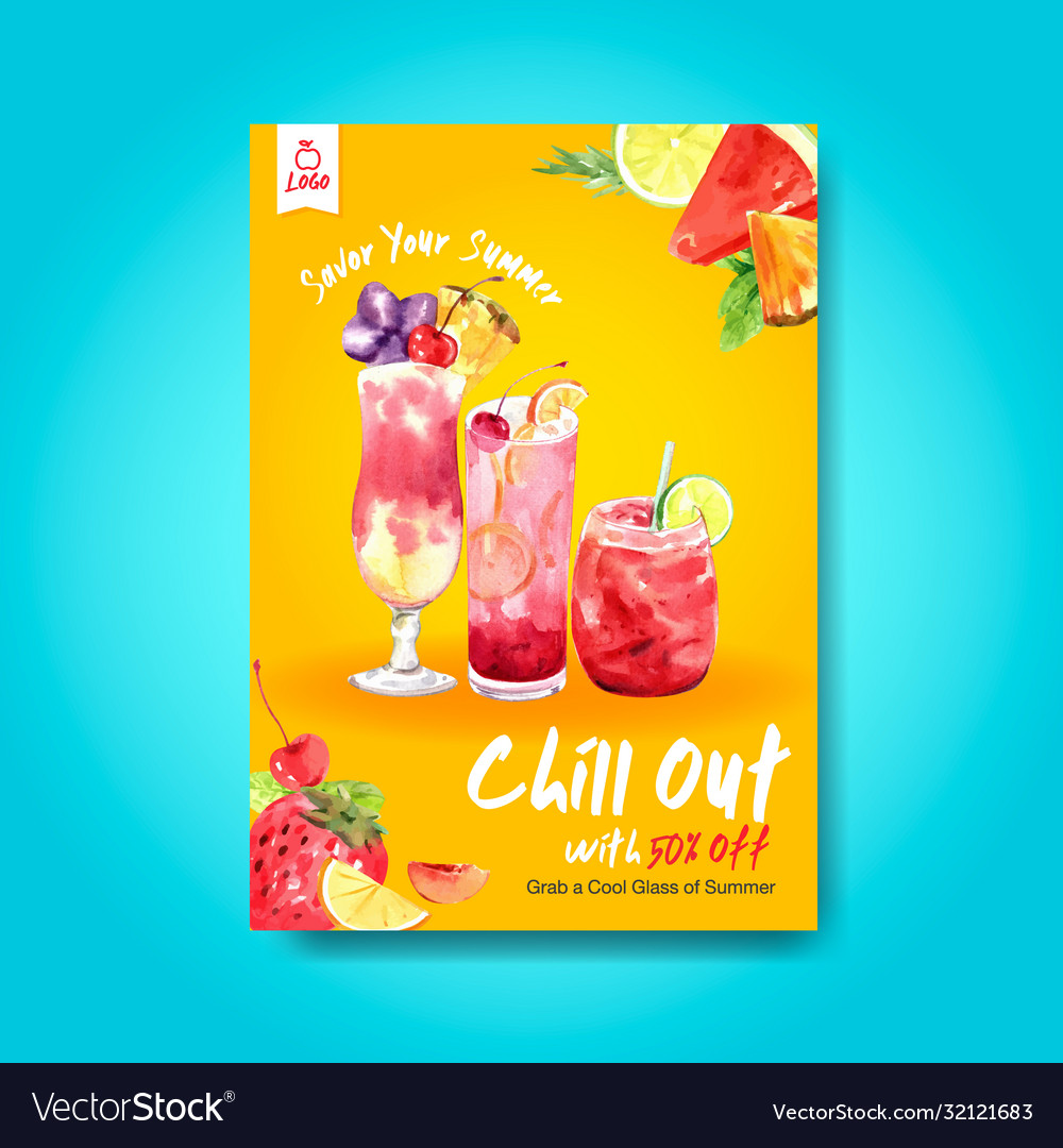 Summer drink poster template design for cocktail