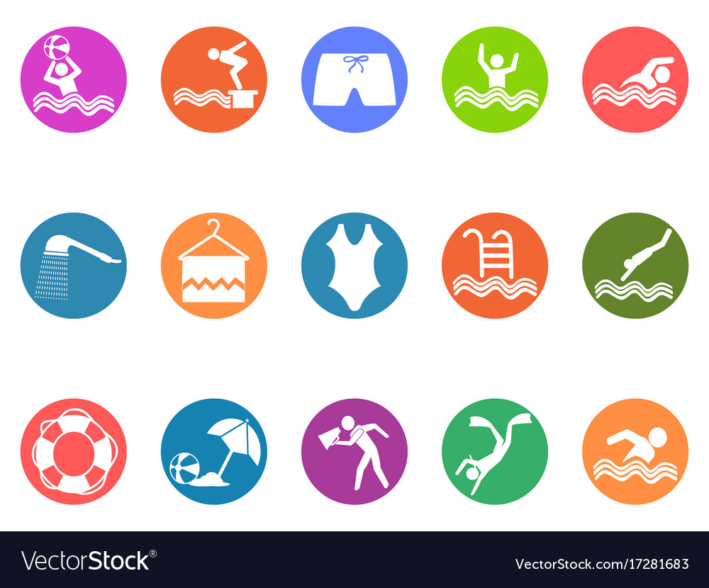 Swimming pool round button icons set