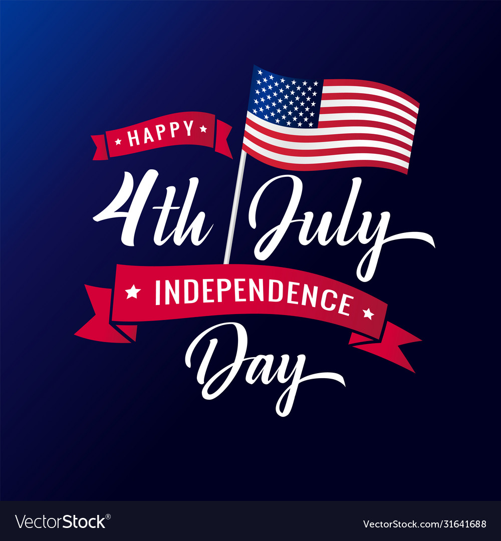 4th july independence day usa lettering banner