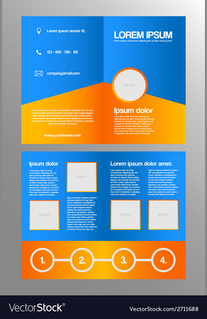 Bifold business brochure template vector image
