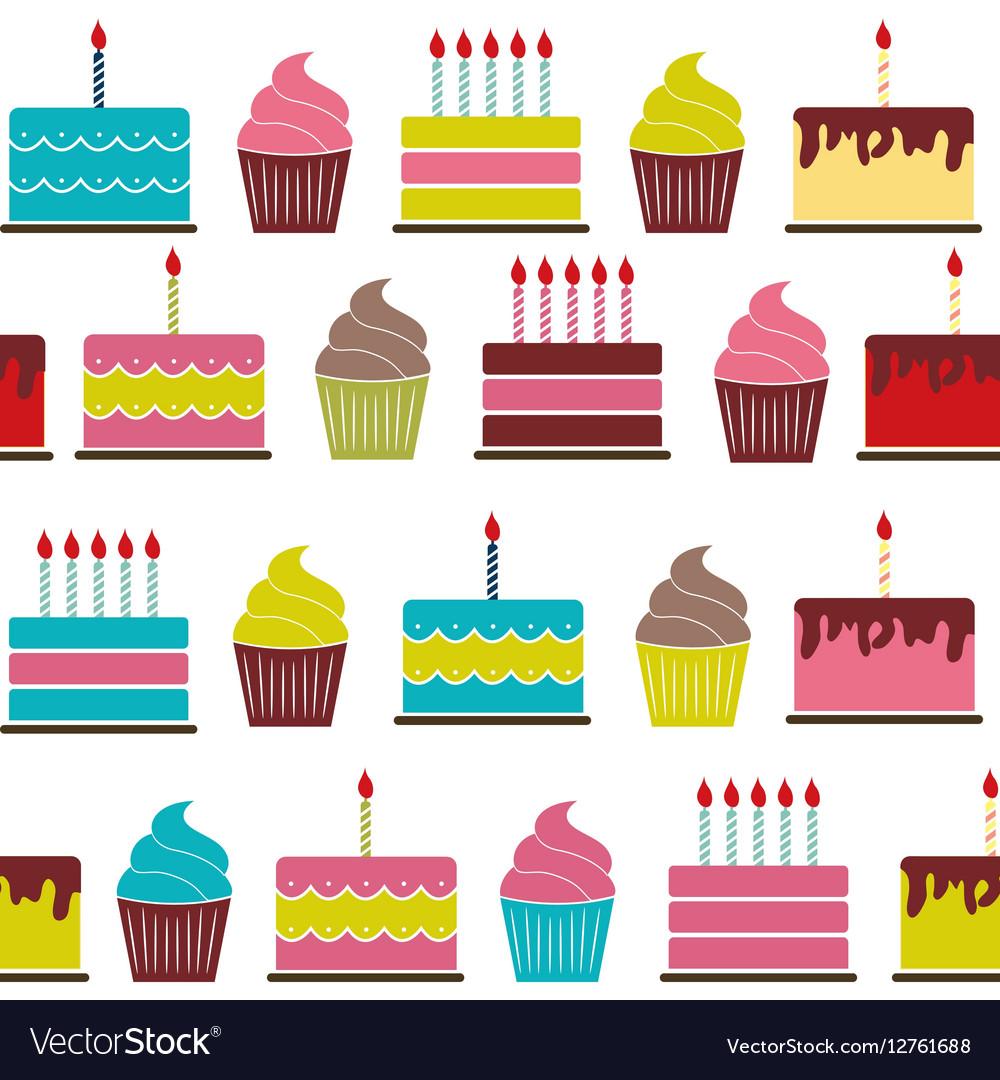 Birthday Cake Flat Seamless Pattern Background Vector Image On Vectorstock