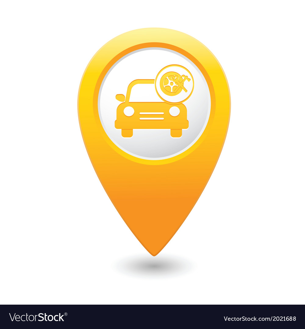 Car with wheel and tools icon map pointer yellow vector image