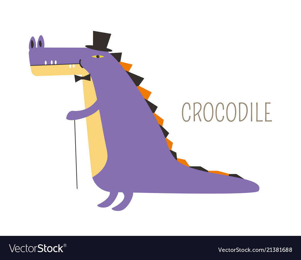 Crocodile in tall hat and bowtie with small cane