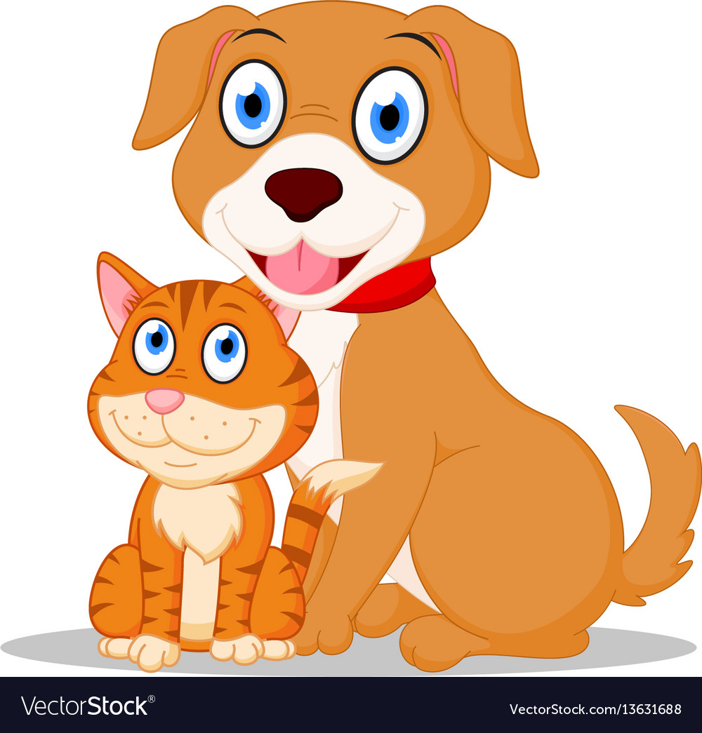 Cute dog and cat cartoon