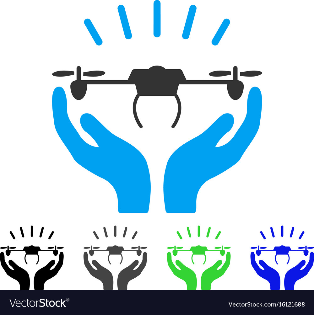 Drone launch hands flat icon vector image