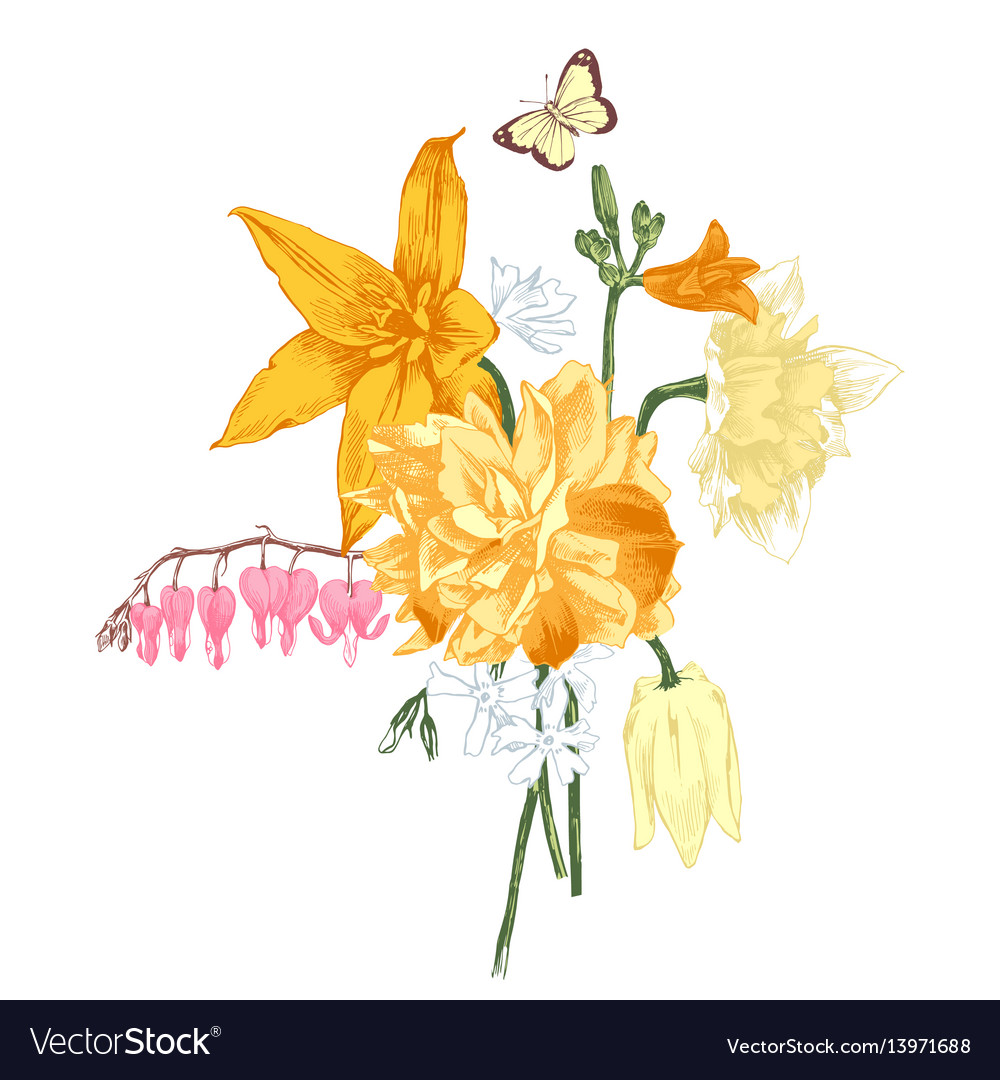 Hand drawn bouquet spring flowers