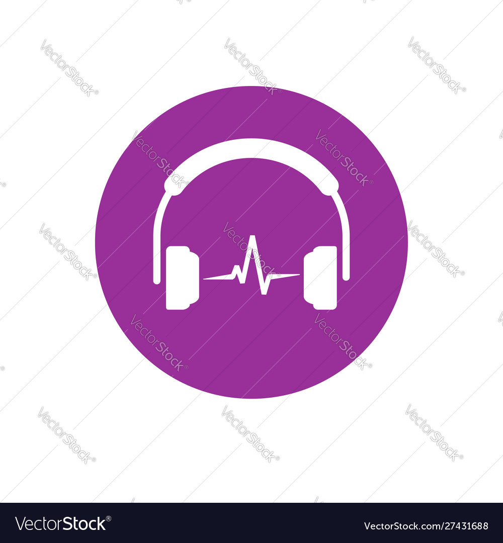 Headset icon isolated flat simple