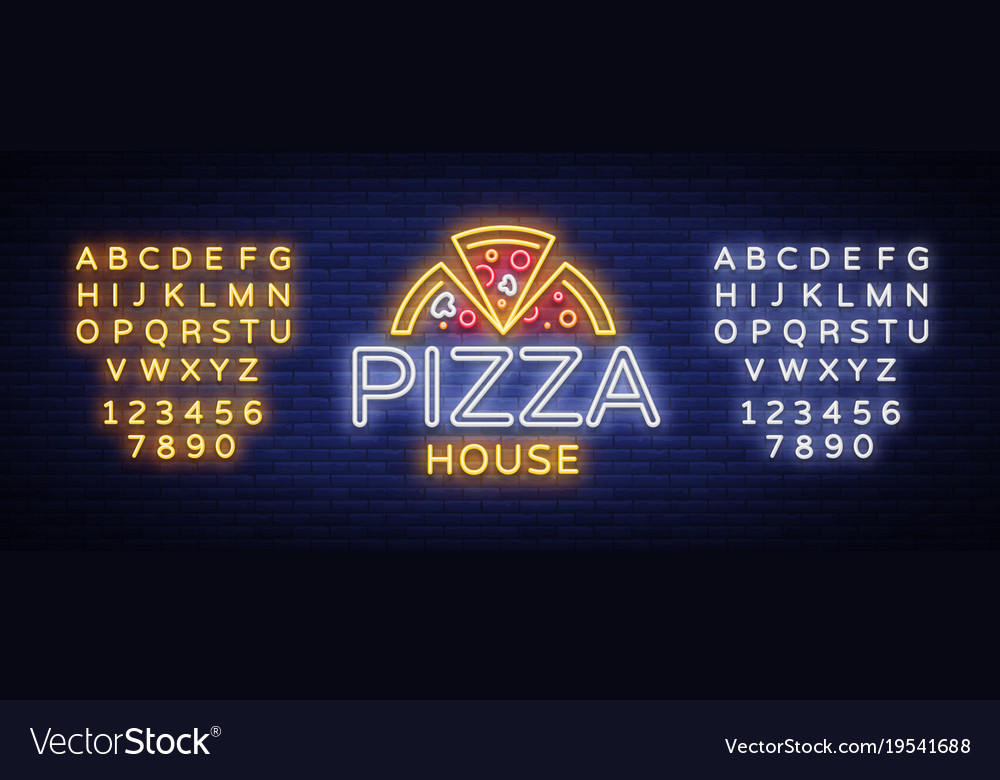 Pizza logo emblem neon sign logo in neon style