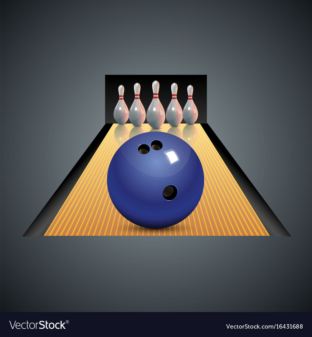 Realistic bowling icon on dark gray background