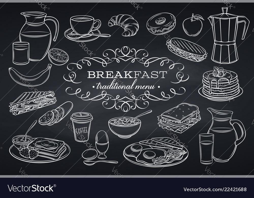 Set breakfast icons on chalkboard