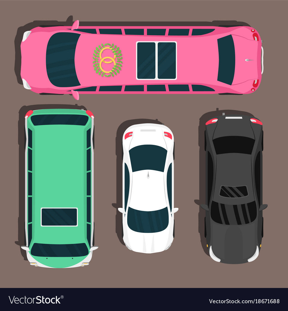 Top view colorful car toys pickup automobile