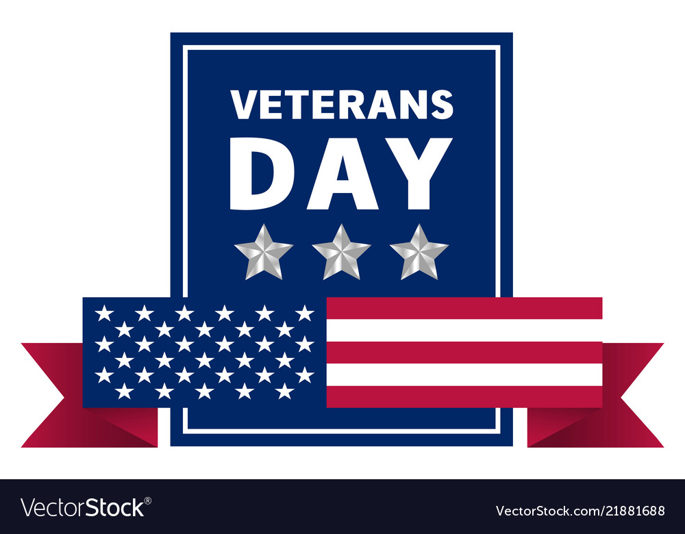 Veterans day logo realistic style