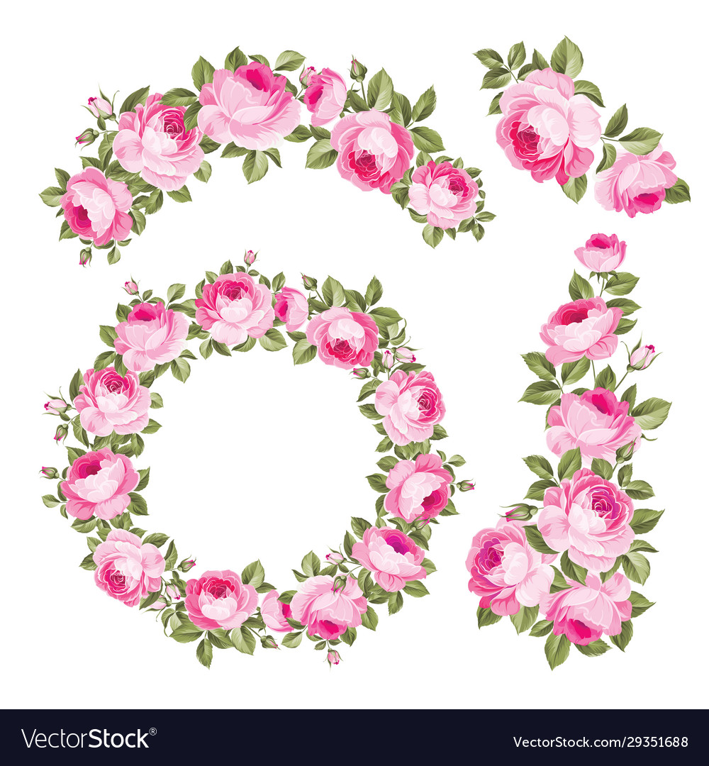 Vintage wreath flowers over white background
