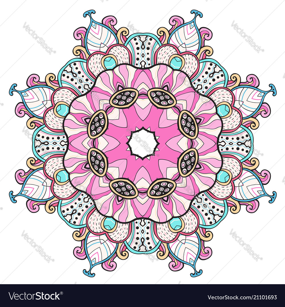Abstract colorful round oriental ornament
