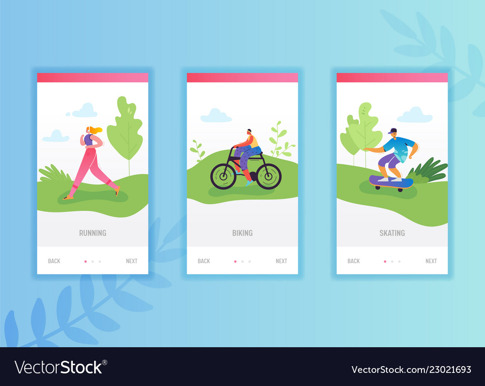 Active people sports onboarding screens template