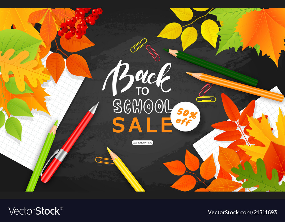 Back to school sale bannerautumn leaves pencils