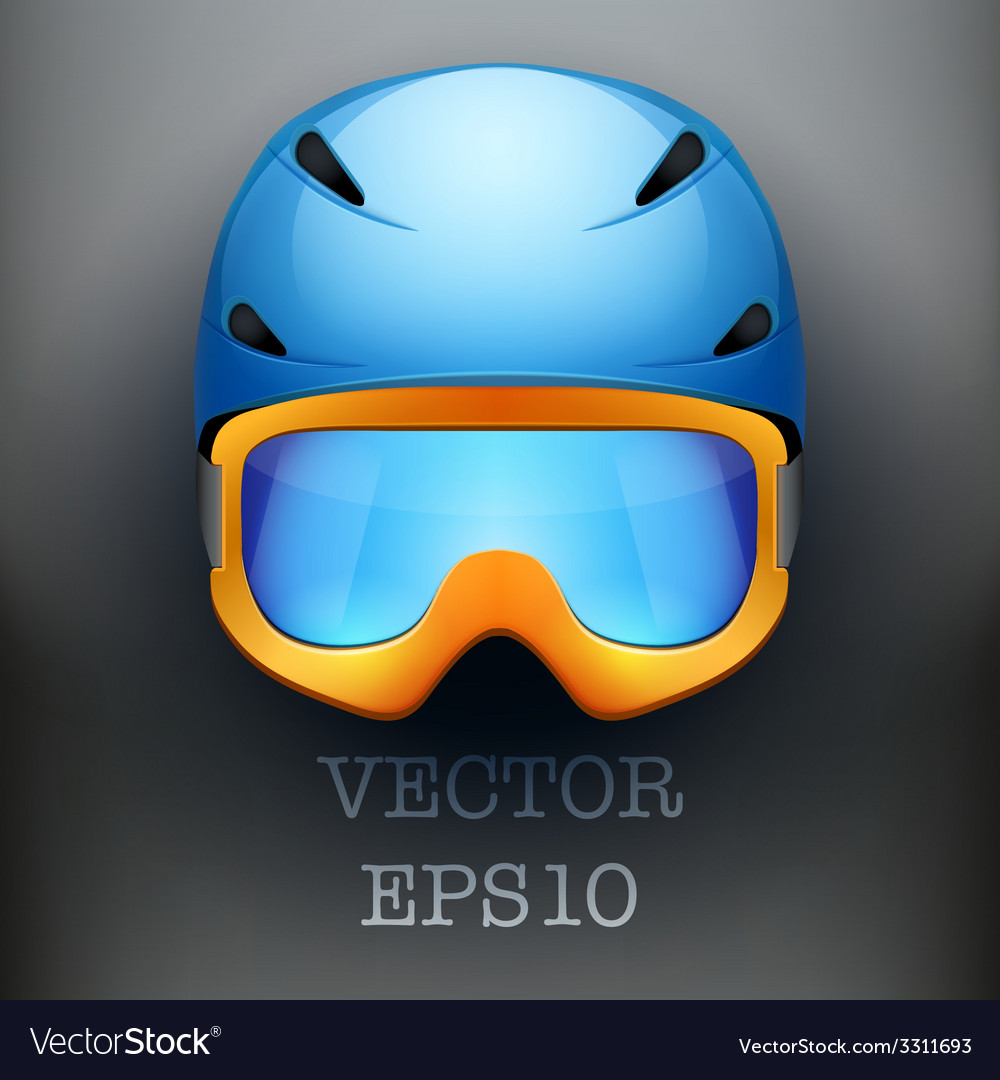 d0c5bc17a06 Background of Classic Ski helmet and orange Vector Image