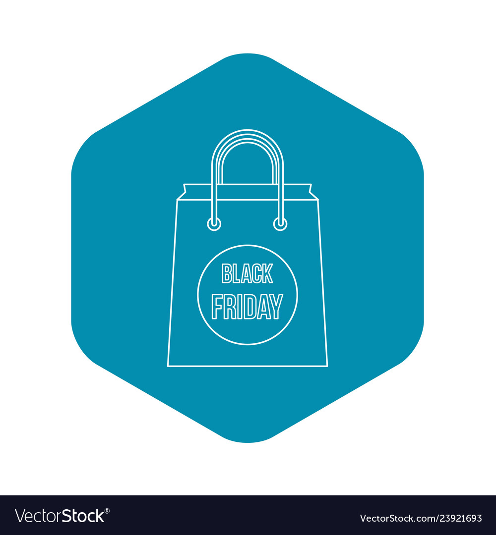 Black friday shopping bag icon outline style