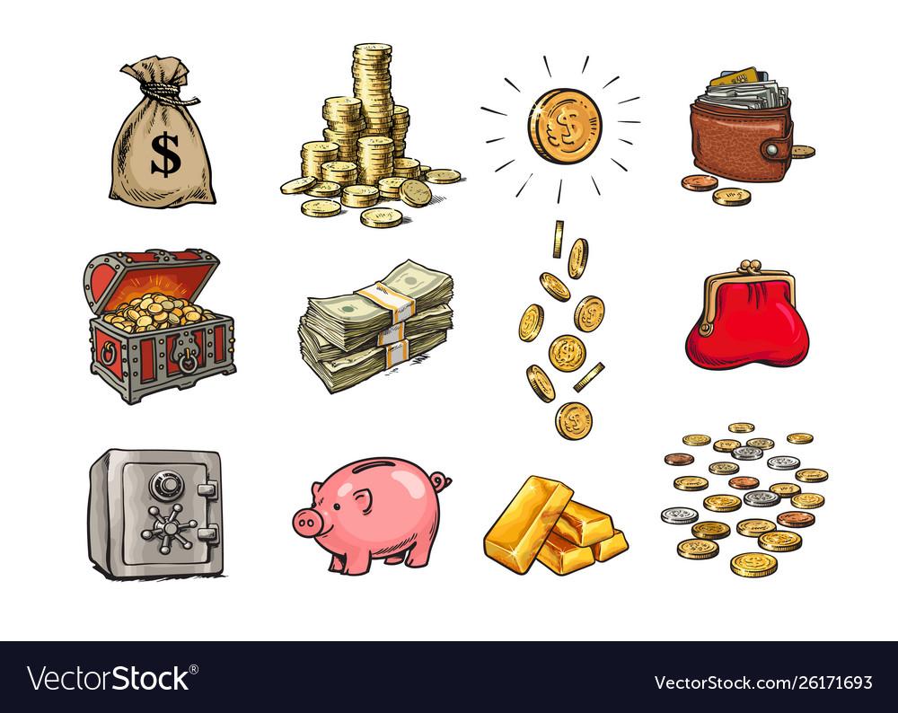 Cartoon finance money set sack dollars stack
