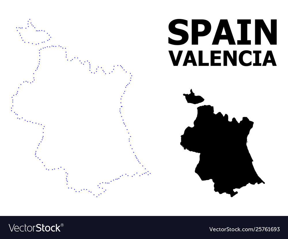 Map Of Spain Valencia.Contour Dotted Map Valencia Province