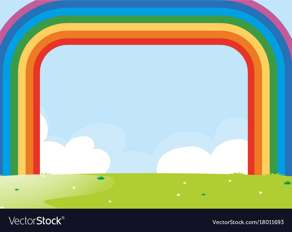 Frame design with rainbow over the field Vector Image