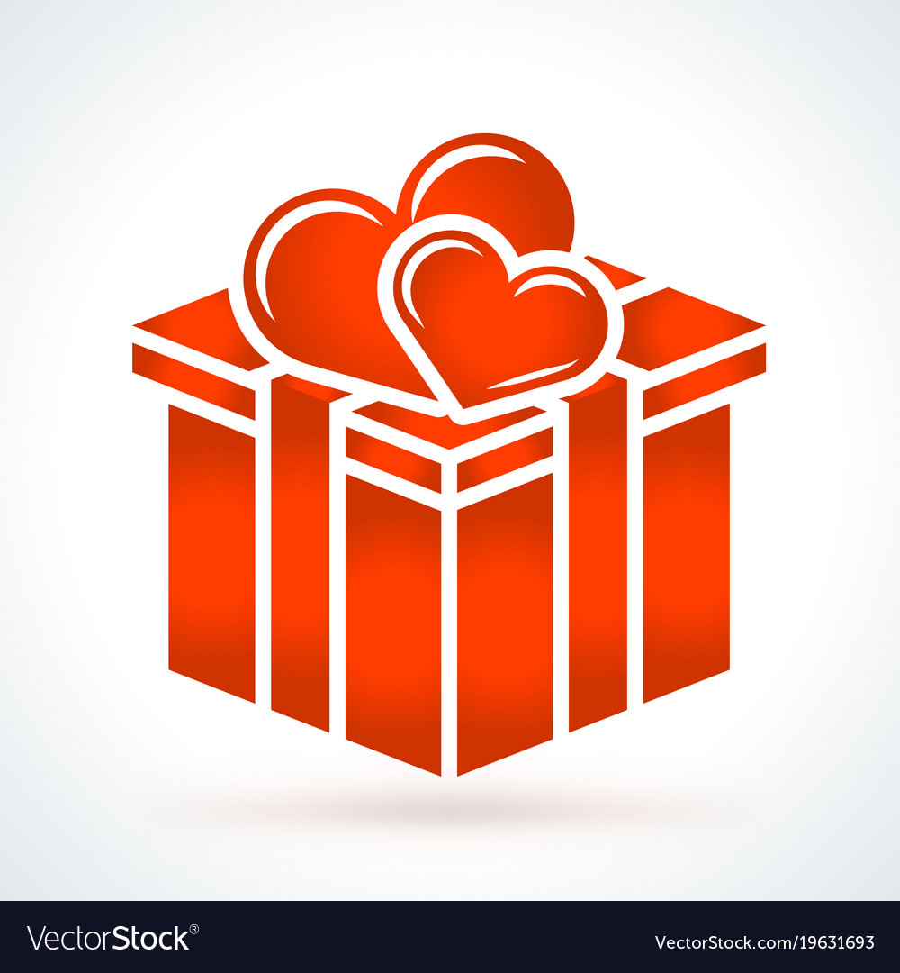 Gift box with two hearts st valentines day design vector image