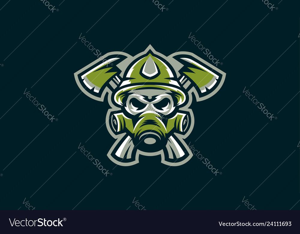 Logo skull and two ax military skeleton