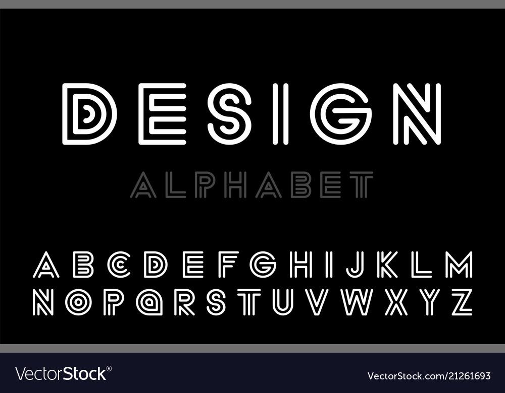 Modern designer striped font - minimalistic