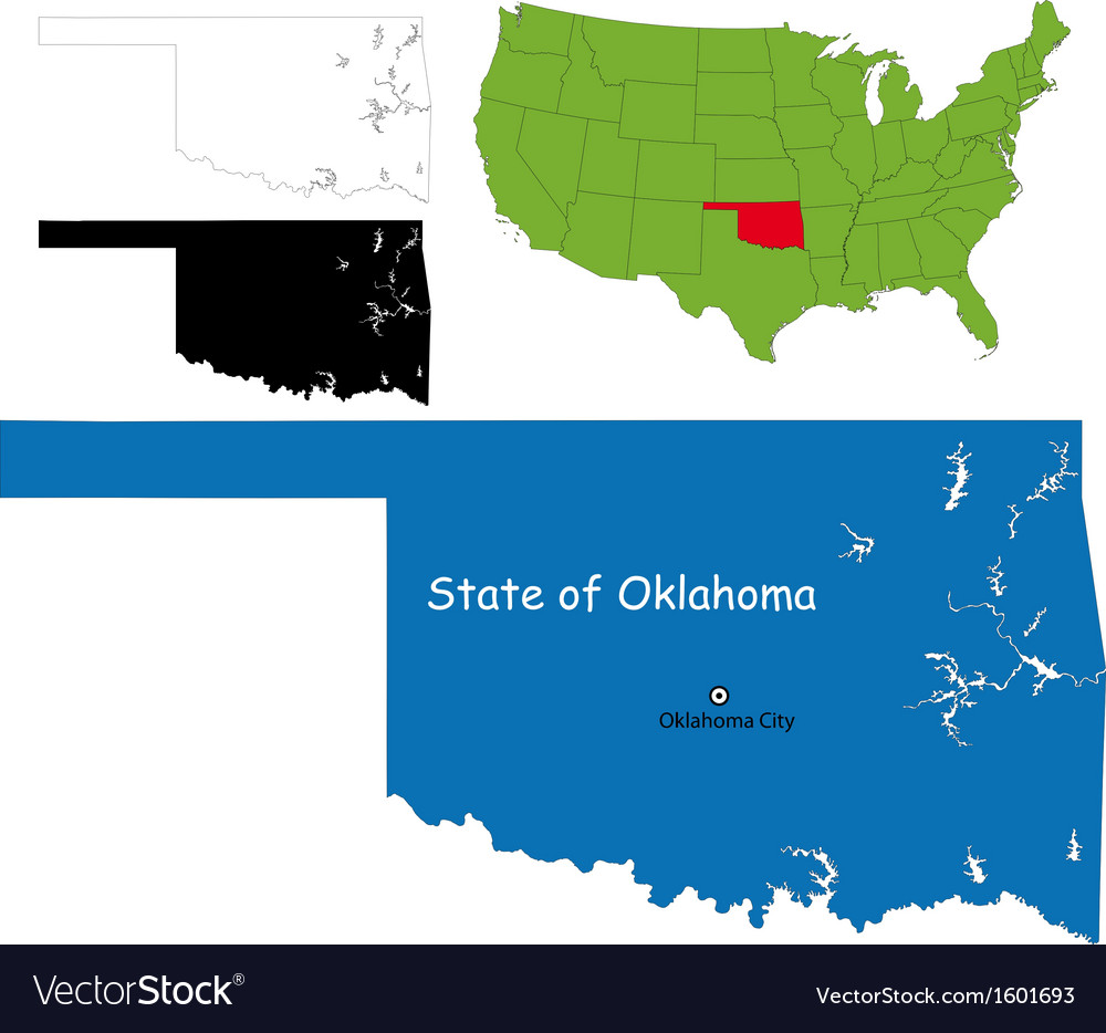 Oklahoma map Royalty Free Vector Image - VectorStock
