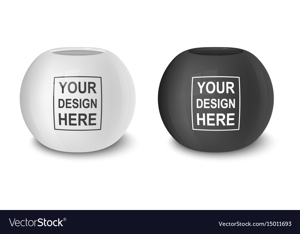 Realistic black and white empty flower pot vector image