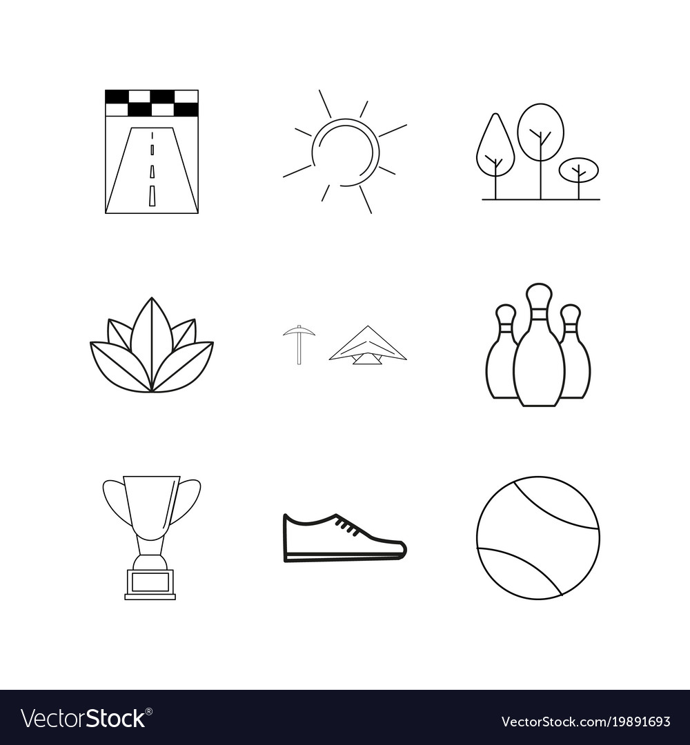 Sport and wellness linear icon set simple outline